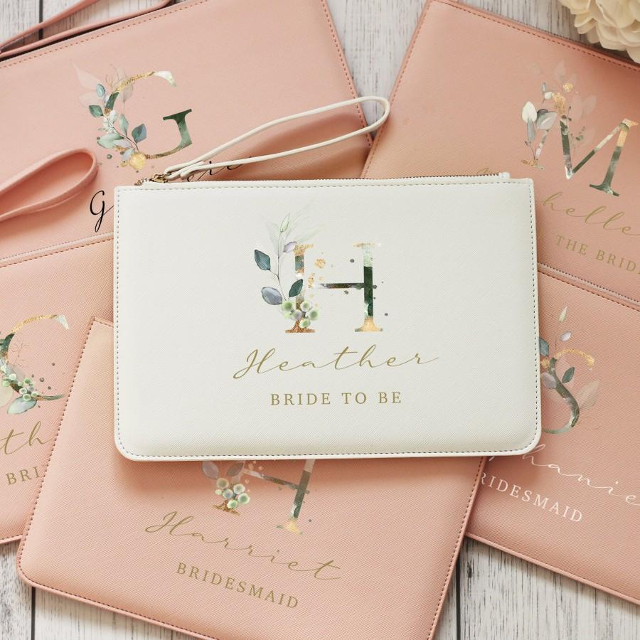 Wedding - Personalised Bridesmaid Pouch, Bridal Pouch, Bridesmaid Purse, Monogram Letter Clutch Bag, Wedding Role Bag, Hen Party Bag, Bridesmaid Gift
