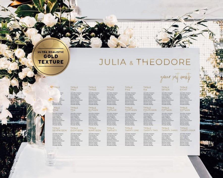 Свадьба - Minimalist Gold Wedding Seating Chart, Customized Digital Download, Printable, Juliette Range #017