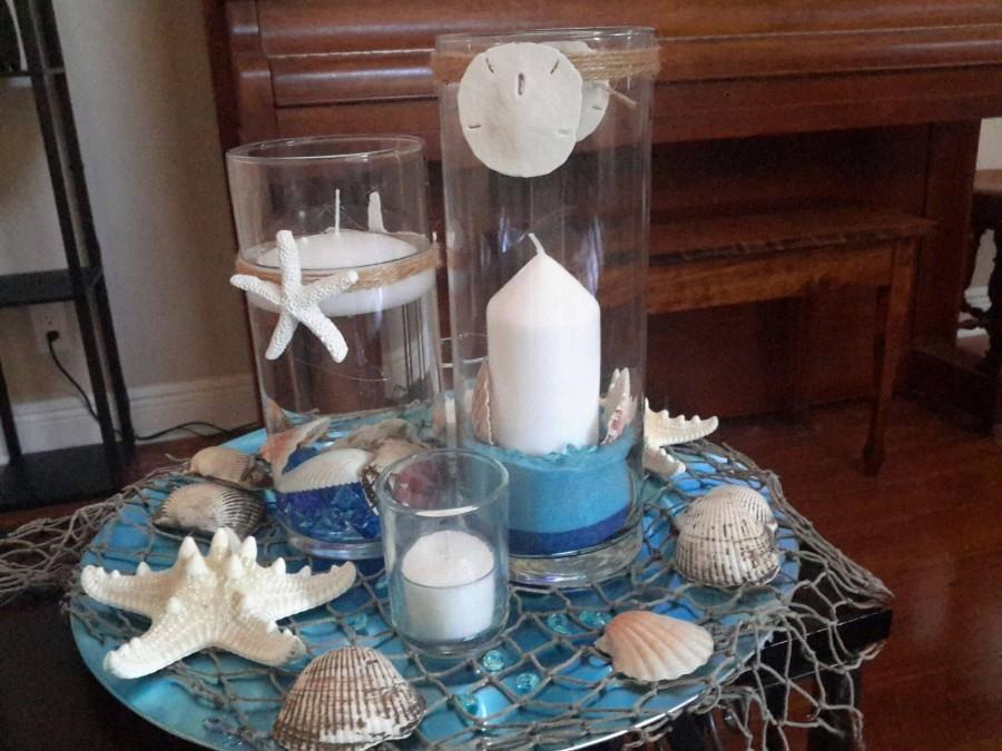زفاف - Beach Candle Seashell Cylinder Vase Centerpiece Set-Wedding--Floating Candle-Party-Birthday-Anniversary-Birthday-Sweet 16-Beach Wedding