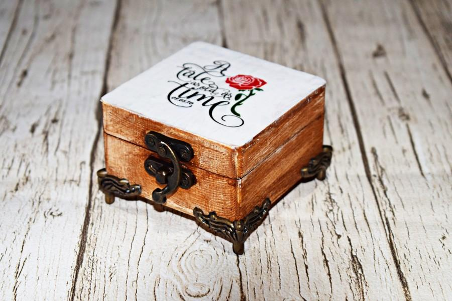 Свадьба - Tale as old as time ring box, Beauty and the Beast wedding proposal box, engagement box, ring bearer box, custom wedding gift for couples