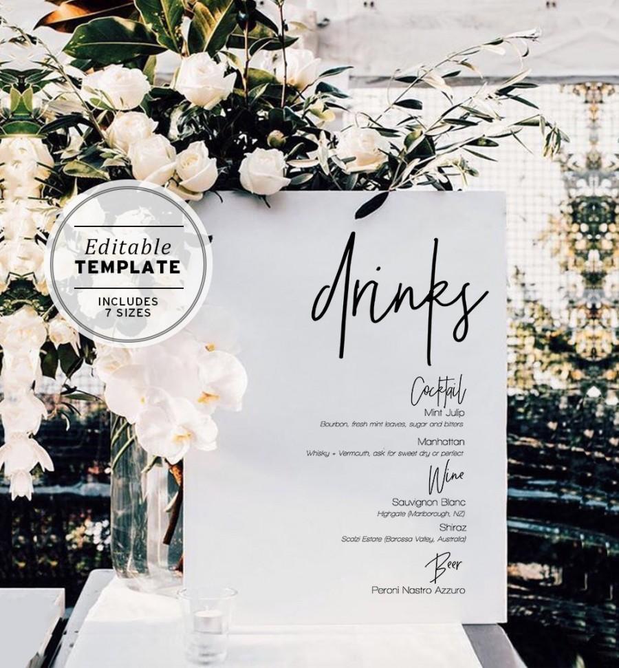 زفاف - Juliette Minimalist Drinks Sign