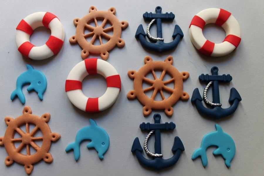 زفاف - Nautical cake gum paste fondant marine cupcakes topper sailor boat cake sugar decoration