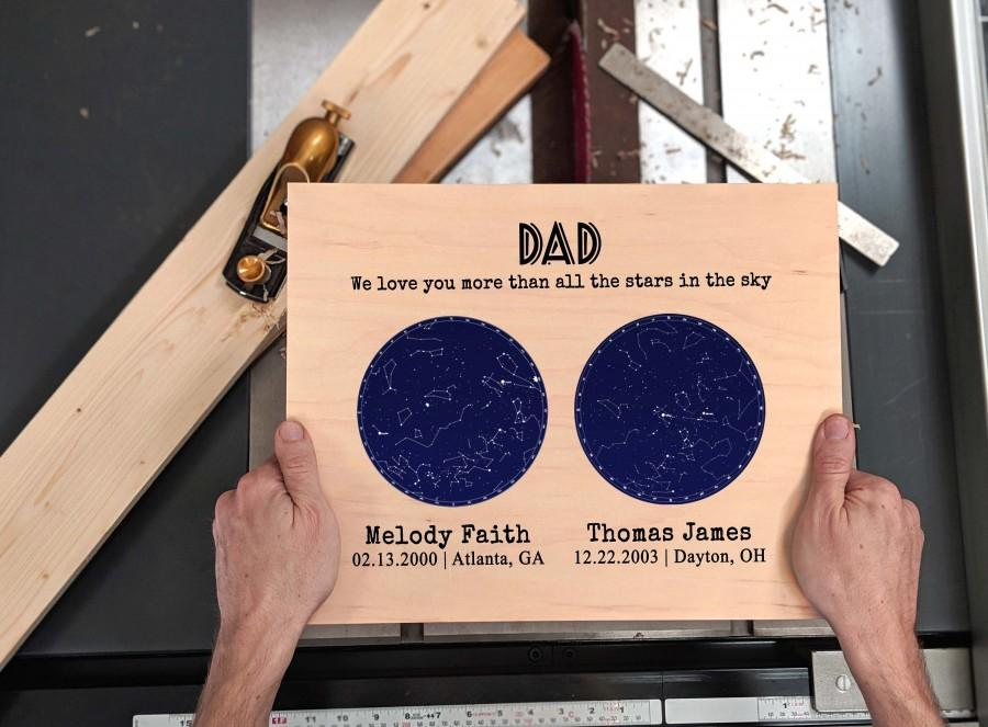 Свадьба - Personalized Birthday Gift from Daughter Gift for Dad Gift First Father Day Gift from Son Constellation Map Custom Star Map on Wood Gift