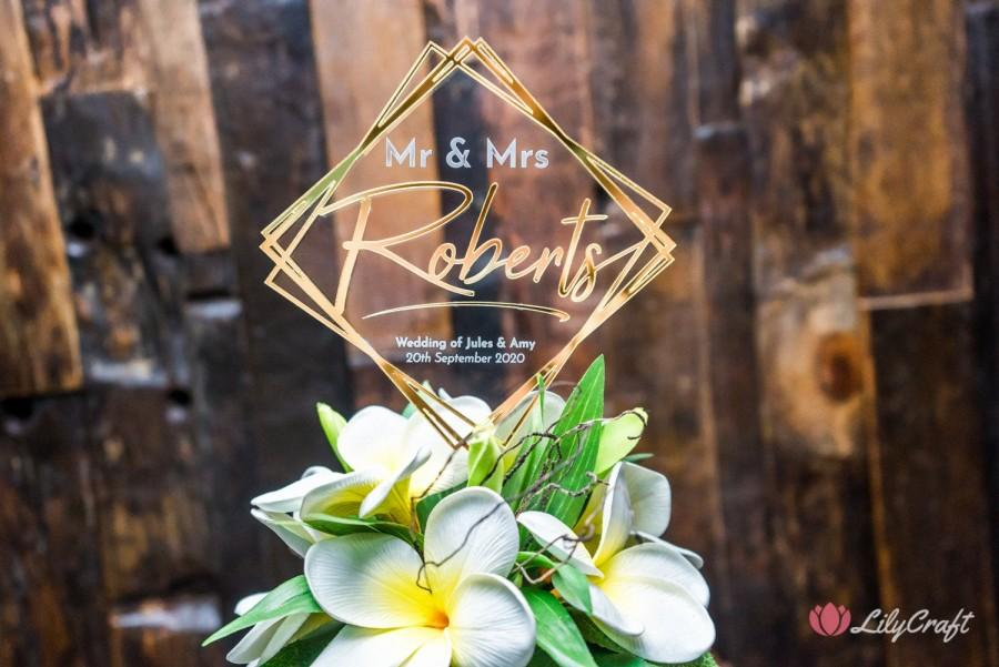 Mariage - Modern wedding cake topper. Mirror and clear acrylic custom personalised cake topper
