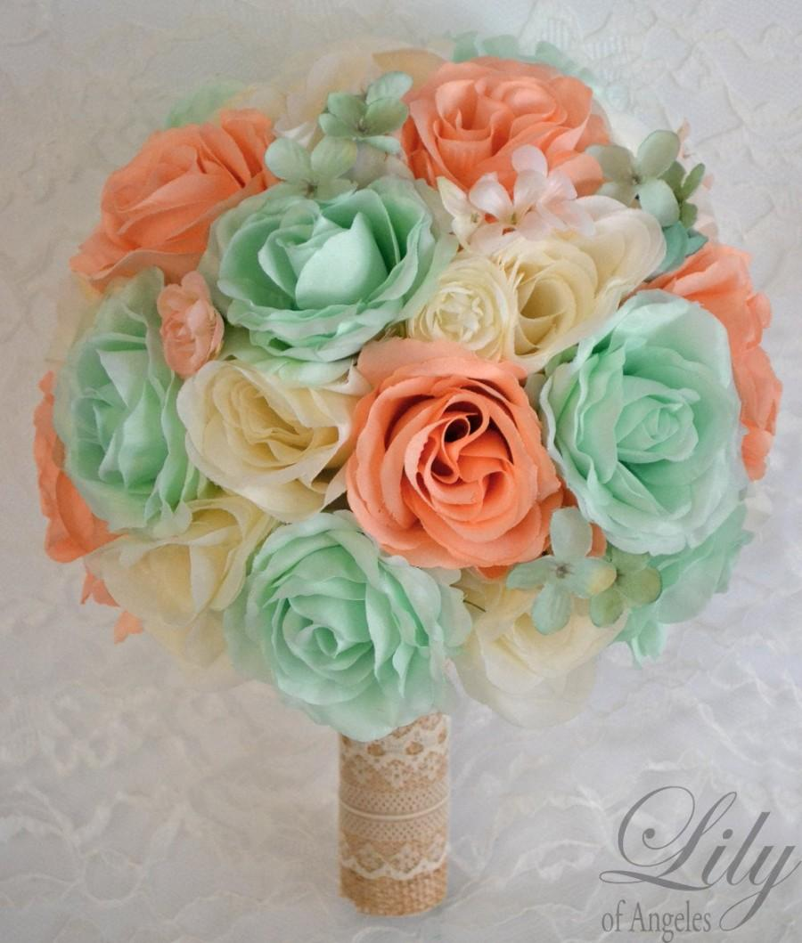 زفاف - Wedding Bouquet, Bridal Bouquet, Bridesmaid Bouquet, Silk Flower Bouquet, Wedding Flowers, 17 Piece Package, Mint, Peach, Lily of Angeles