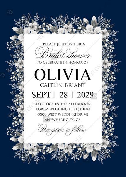 Wedding - Bridal shower white anemone navy blue background wedding invitation set PDF 5x7 in invitation maker
