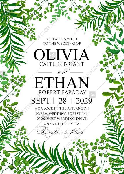 Wedding - Greenery wedding invitation set watercolor herbal design PDF 5x7 in invitation editor