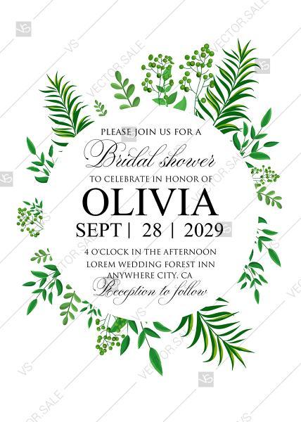 Wedding - Greenery bridal shower wedding invitation set watercolor herbal design PDF 5x7 in invitation maker