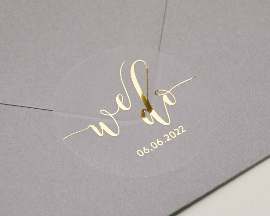 زفاف - Real foil wedding stickers with personalised date in gold, rose gold or silver on matt semi clear sticker, wedding favour seal