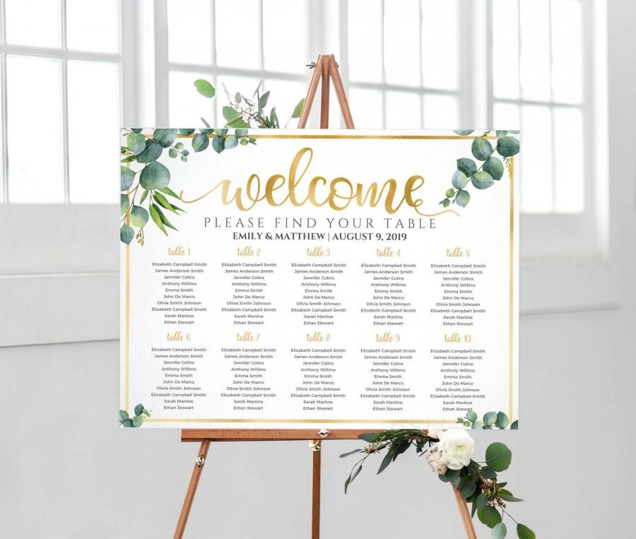 Hochzeit - Wedding seating chart, Wedding Table Plan, Seating chart wedding template, Find Your Seat, Welcome sign, Eucalyptus Greenery Watercolor