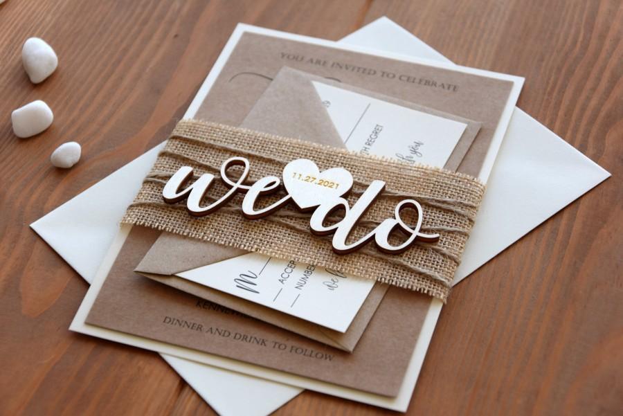 Hochzeit - Rustic Wedding Invitations, Personalized Wooden Wedding Invitations, Fall Rustic Wedding Invite, Laser Cut Wedding Invitation
