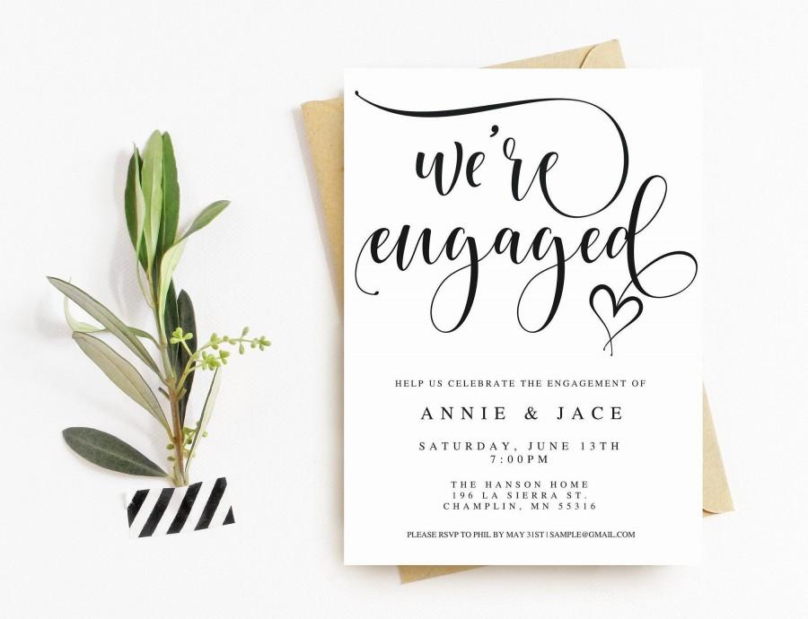 Wedding - Printable Engagement Announcement // We're Engaged // Editable Engagement Party Invitation Template // Instant Download // Wedding DIY
