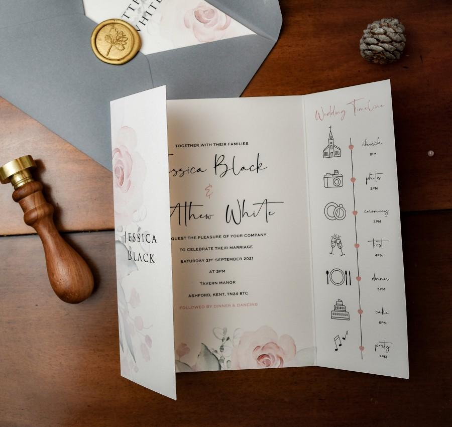 Wedding - Whimsical - Gatefold Wedding Invitations, Wax Seals, Vellum, Burgundy, Printed Envelopes, Wedding Invites, Lined Envelopes, Sage, Timeline