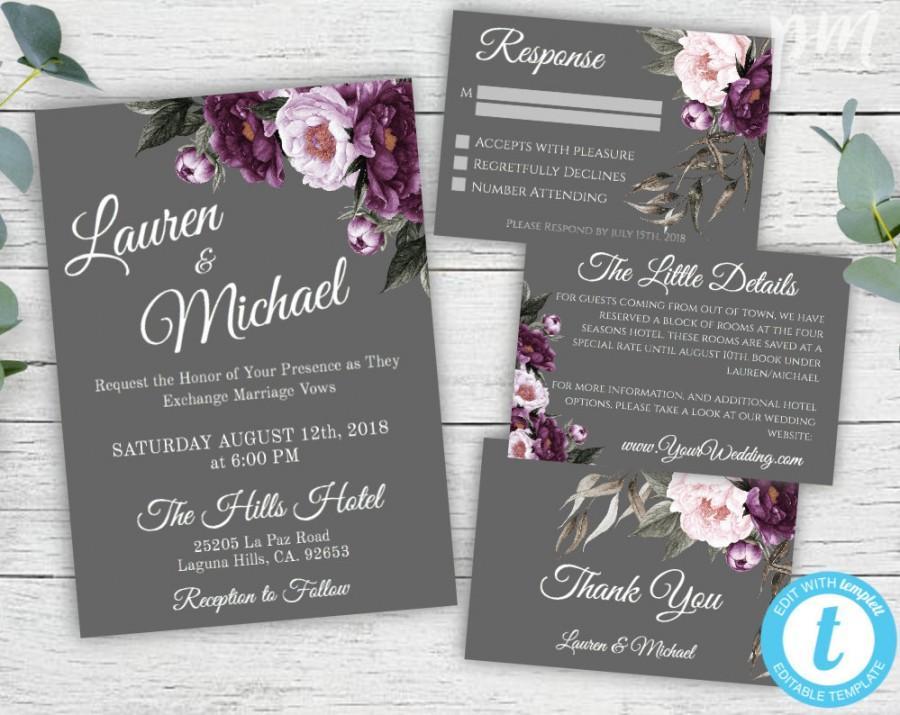 Wedding - Purple and Gray Wedding Invitation Template Set, Gray Wedding Invitation, Printable Plum Invitation, Editable Lavender Wedding Suit, WBPG