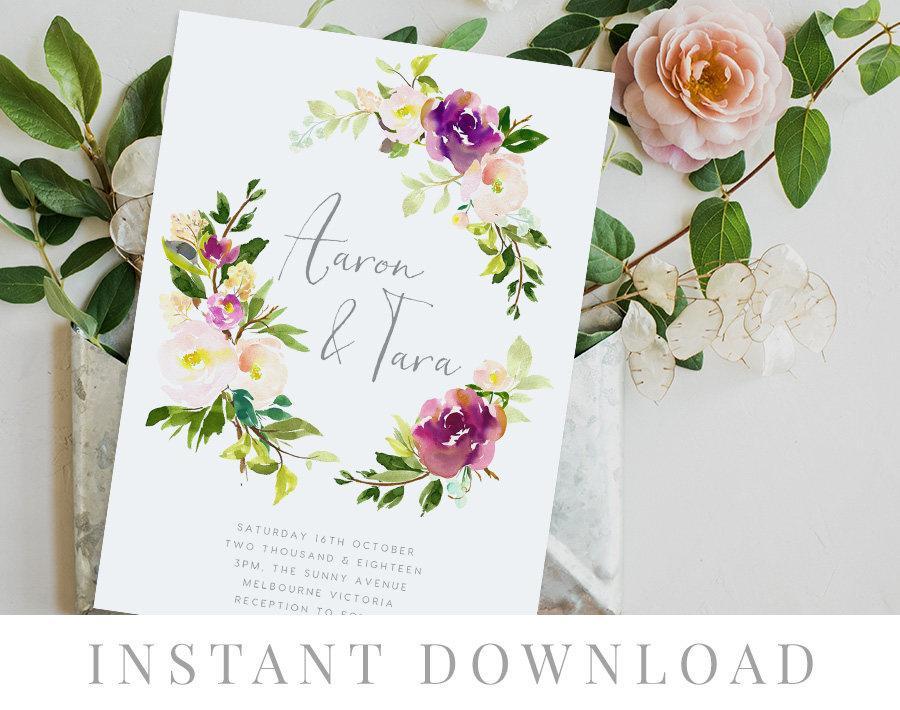 Hochzeit - Leaves Wedding Invitation INSTANT DOWNLOAD, Wedding Invite, DIY Printable Invitation, Templett, Editable, Watercolor, Green Leaves, Lilted