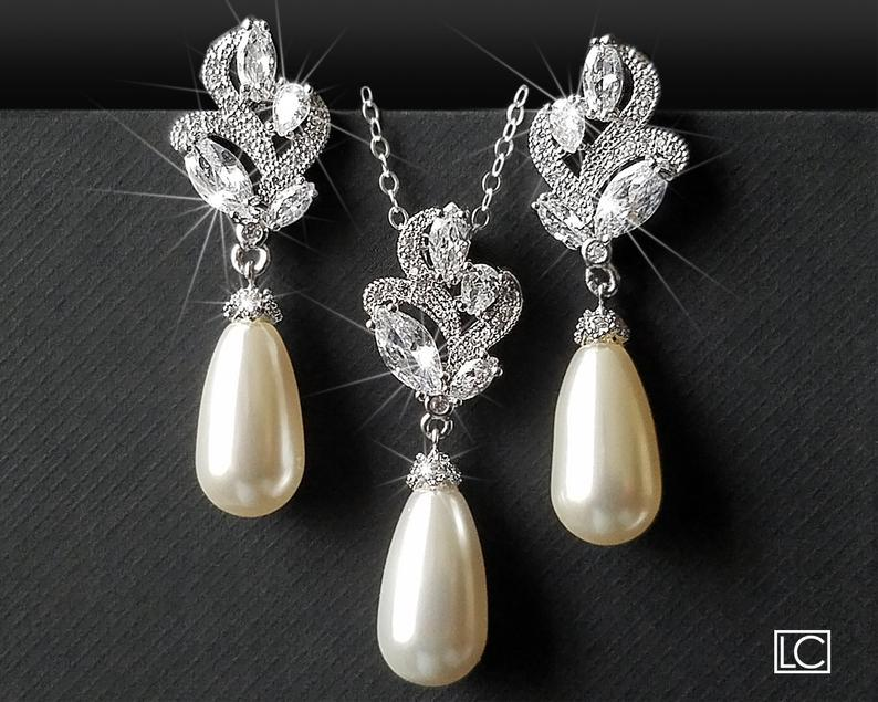 Wedding - White Pearl Bridal Jewelry Set, Swarovski Teardrop Pearl Earring&Necklace Set, Wedding Jewelry, Pearl Silver Jewelry Set, Pearl Floral Set