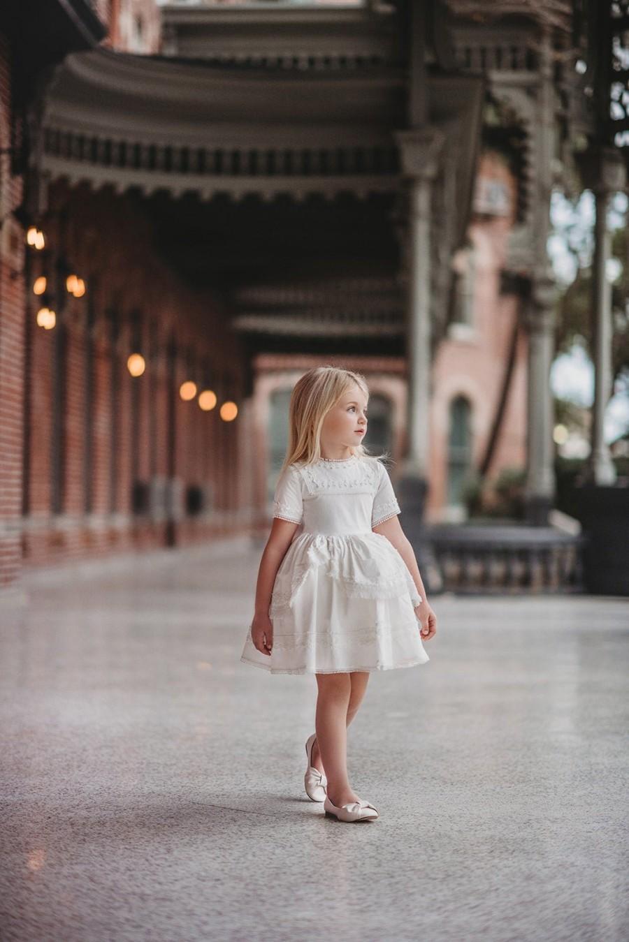 زفاف - White flower girl dress,european girls dress,Easter dress,first communion dress,beach wedding dress,flower girl dresses,short sleeve dress
