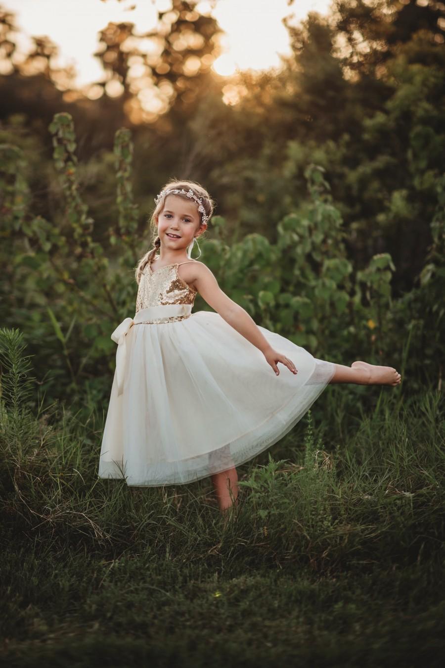 Wedding - Gold sequin dress,flower girl dress,ivory girls dress,junior bridesmaid dresses,dress with sequins,fancy girls dress,birthday girl dress