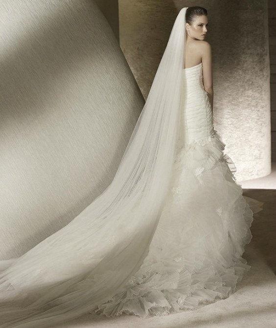 Wedding - Plain Two-Tier Chapel Length Tulle Veil With Raw Edge, Chapel Wedding Veil, Long Wedding Veil, Long Bridal Veil, White Veil