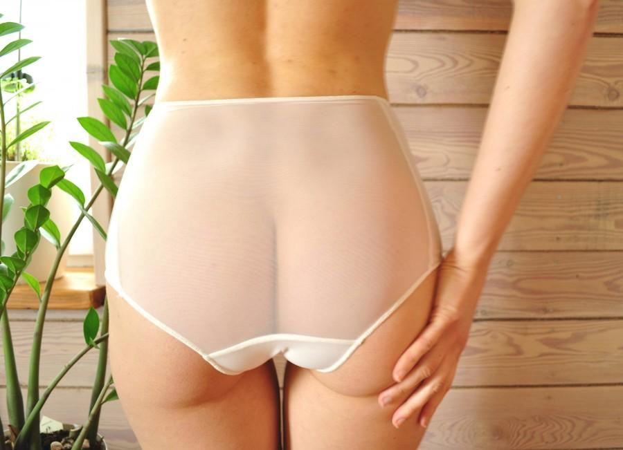 زفاف - See through / High waist panties /  White sheer panties / Underpants / Comfortable / Mint sheer panties / Lingerie / Bridal panty/Fast Ship.