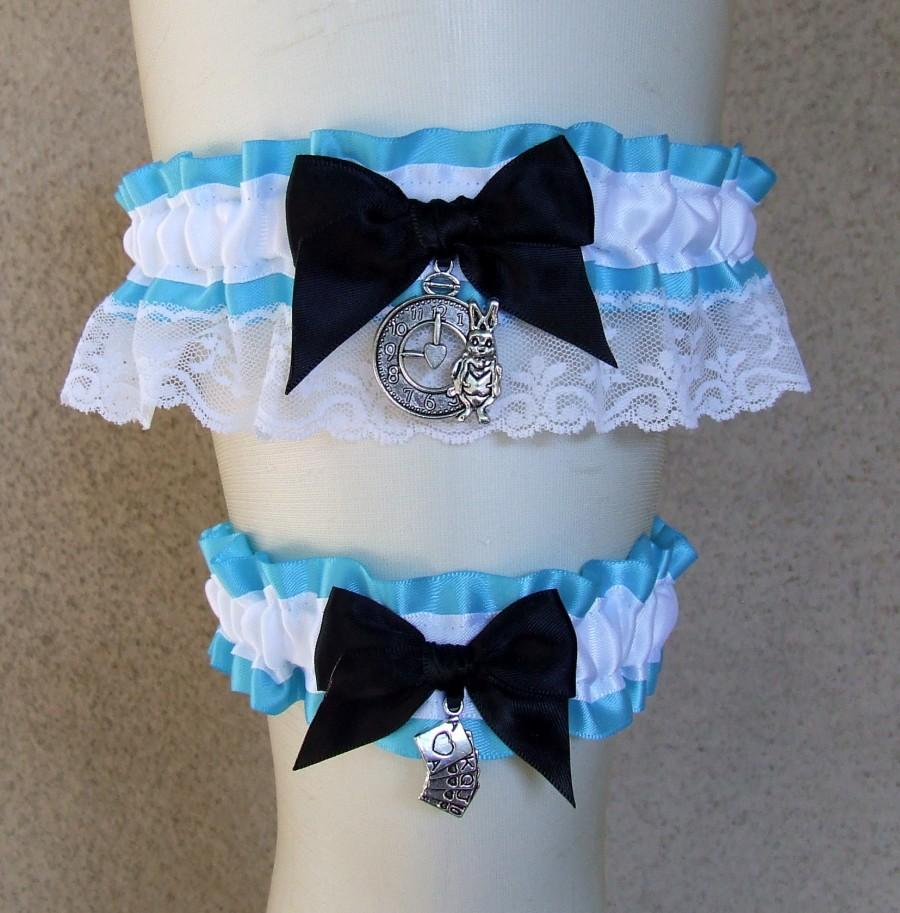 Hochzeit - Alice in Wonderland Garter or Set / custom colors and charms Something Blue for your Fairytale Tea Party Wedding or Bridal Shower Gift