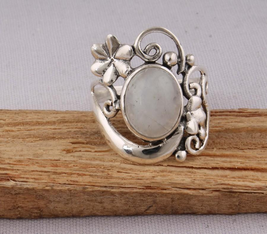 Mariage - Natural Rainbow Moonstone AAA+Quality Gemstone Ring 925-Antique Silver Ring,Milddle Finger Ring, Gift For Her,Sterling Silver Ring,