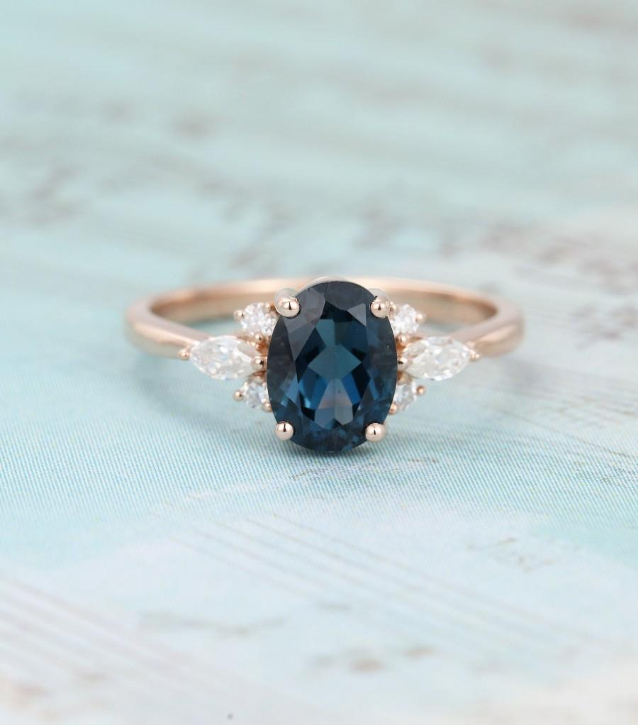 Hochzeit - Oval London blue topaz engagement ring Rose gold Unique Cluster engagement ring vintage Marquise wedding Bridal Anniversary gift for women
