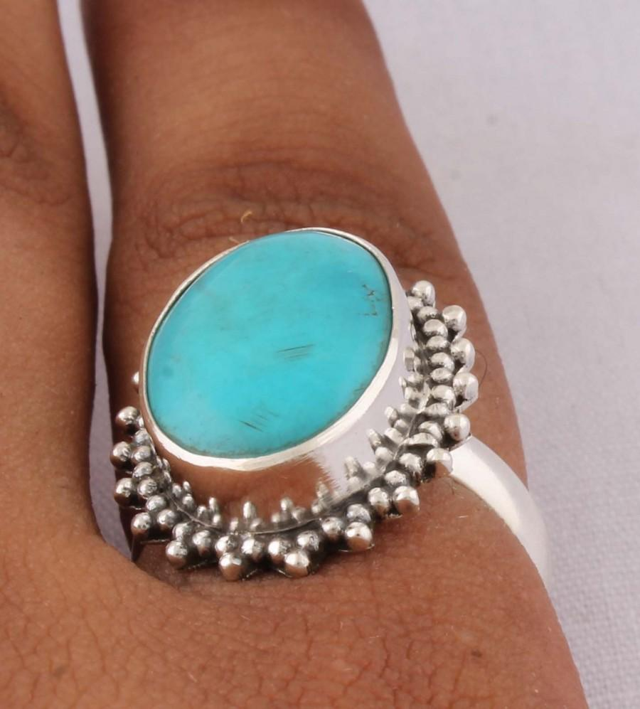 Mariage - Natural Sleeping Beauty Turquoise AAA+Quality Gemstone Ring, Boho Oval Ring,925-Sterling Silver Ring,Antique Silver Ring Midder Finger Ring