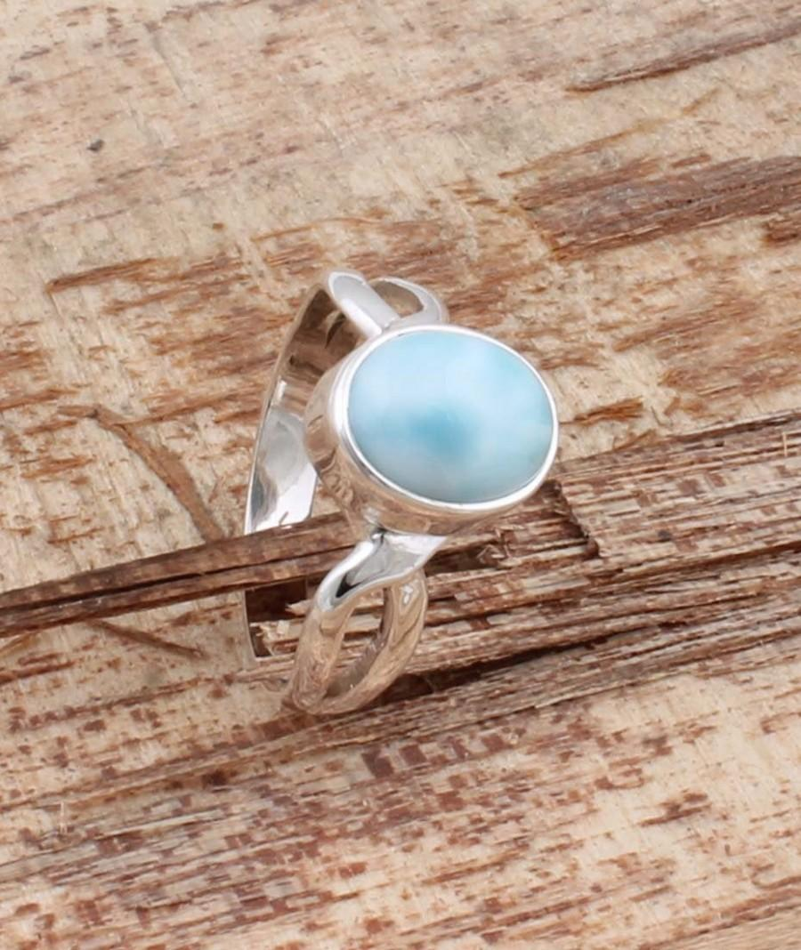 Hochzeit - Natural Larimar Top Quality Gemstone Ring Cabochon Opaque Stone Boho Ring 925-Sterling Silver Ring,Ring Finger Ring Etsy Cyber-2019