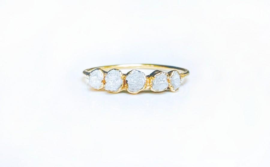 Mariage - Raw diamond ring~Engagement ring~Wedding ring~April birthstone ring~Raw gemstone ring~Gold ring/Dainty ring/Boho ring/Birthday Gift for her