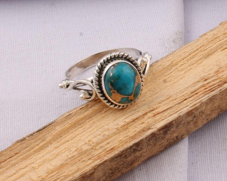 Mariage - Adorable Composite Turquoise Top Quality Gemstone Ring Cut  Stone Boho Ring 925-Sterling Silver Ring,Vintage,Ring Finger Ring Gift for Her,
