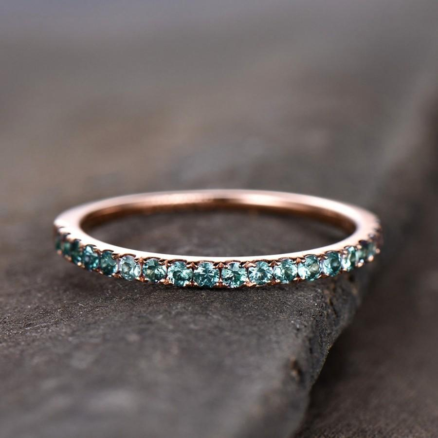 Hochzeit - Eternity Band Alexandrite Ring Aniversary Ring Sterling Silver Matching Band Stacking Ring June Birthstone Rose Gold Plate Wedding Band