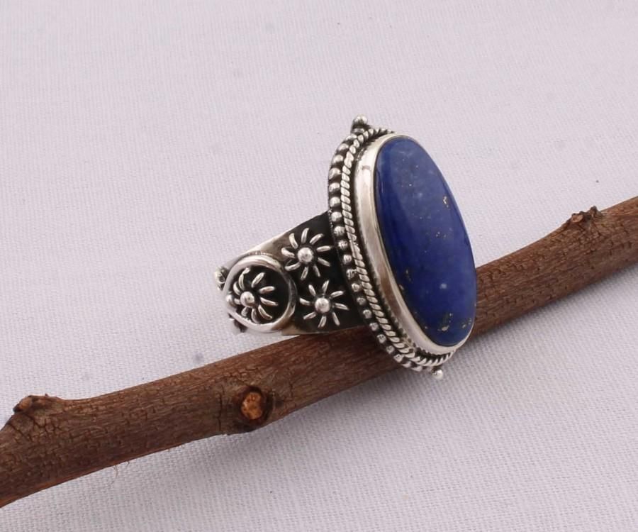 Hochzeit - Natural Lapis Top Quality Gemstone Ring 925-Sterling Silver Ring,Ring Finger Ring,Antique Silver Ring Boho Ring,Engagement Ring