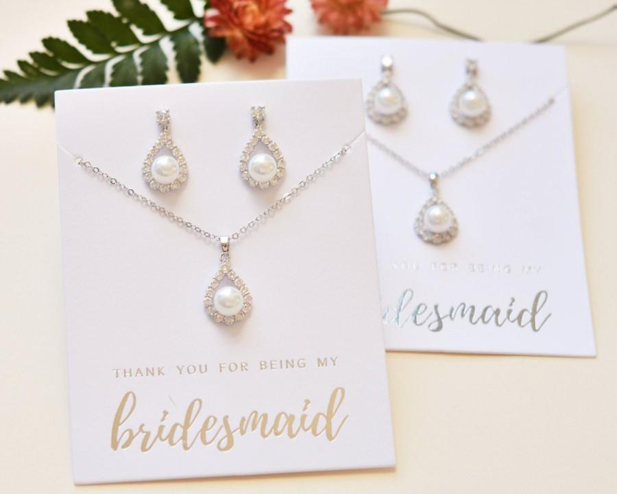Mariage - Pearl Bridesmaid Jewelry, Gold Pearl Bridesmaid Jewelry Set, Gold Bridesmaid Jewelry, Bridesmaid Gift, MOH Gift, Maid of Honor Jewelry, 1679