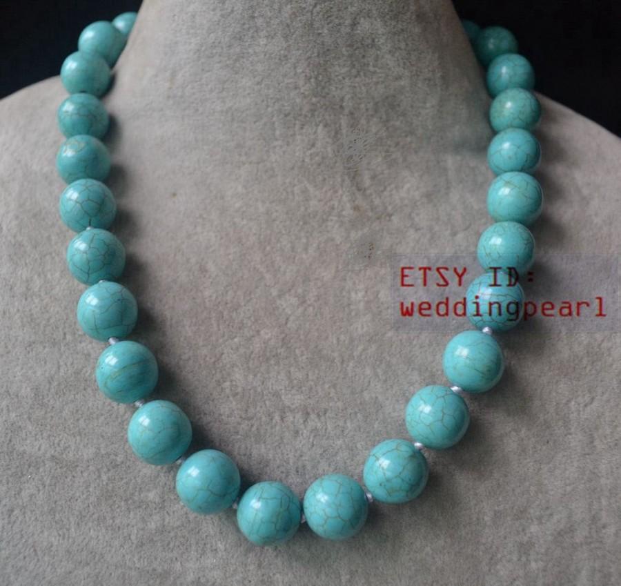Hochzeit - 14mm single strand big turquoise necklace,blue turquoise bead necklace,wedding necklace,statement necklace,man- made turquoise necklaces