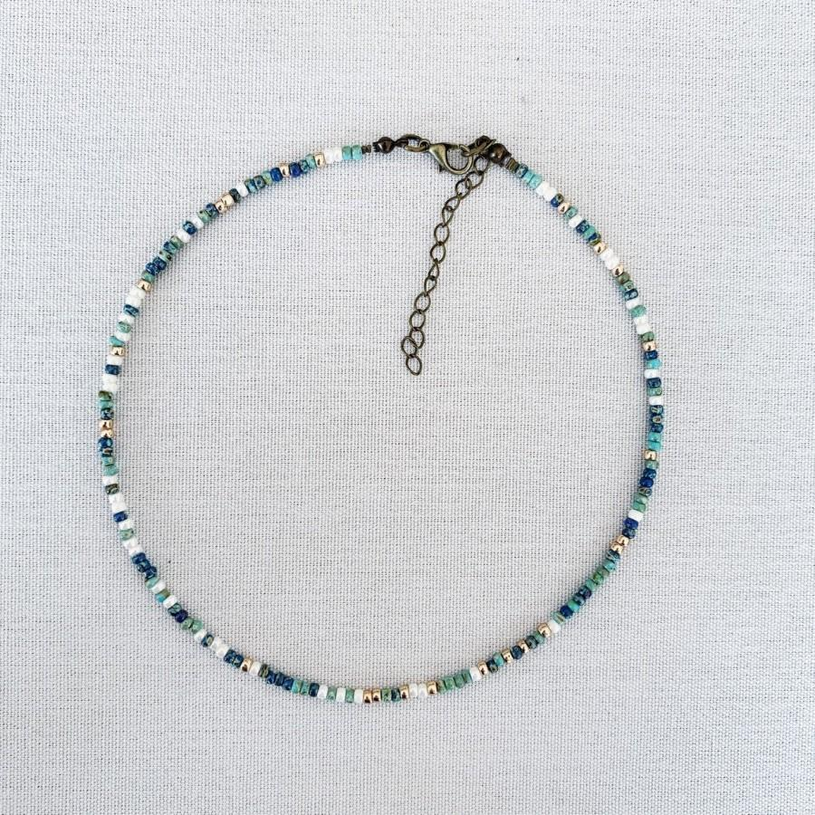 Wedding - Minimal and dainty multicolor beaded choker with gold and shades of blue, beaded choker necklace, layer choker, seed bead necklace