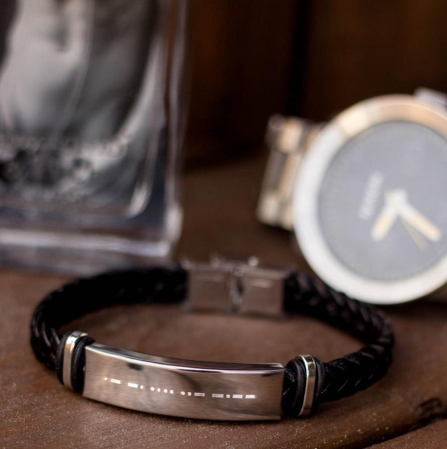 زفاف - CUSTOM Morse Code Engraved Men Bracelet - Gift for Boyfriend, Husband, Brother, Father, Uncle, Godfather, Son -Men Bracelet