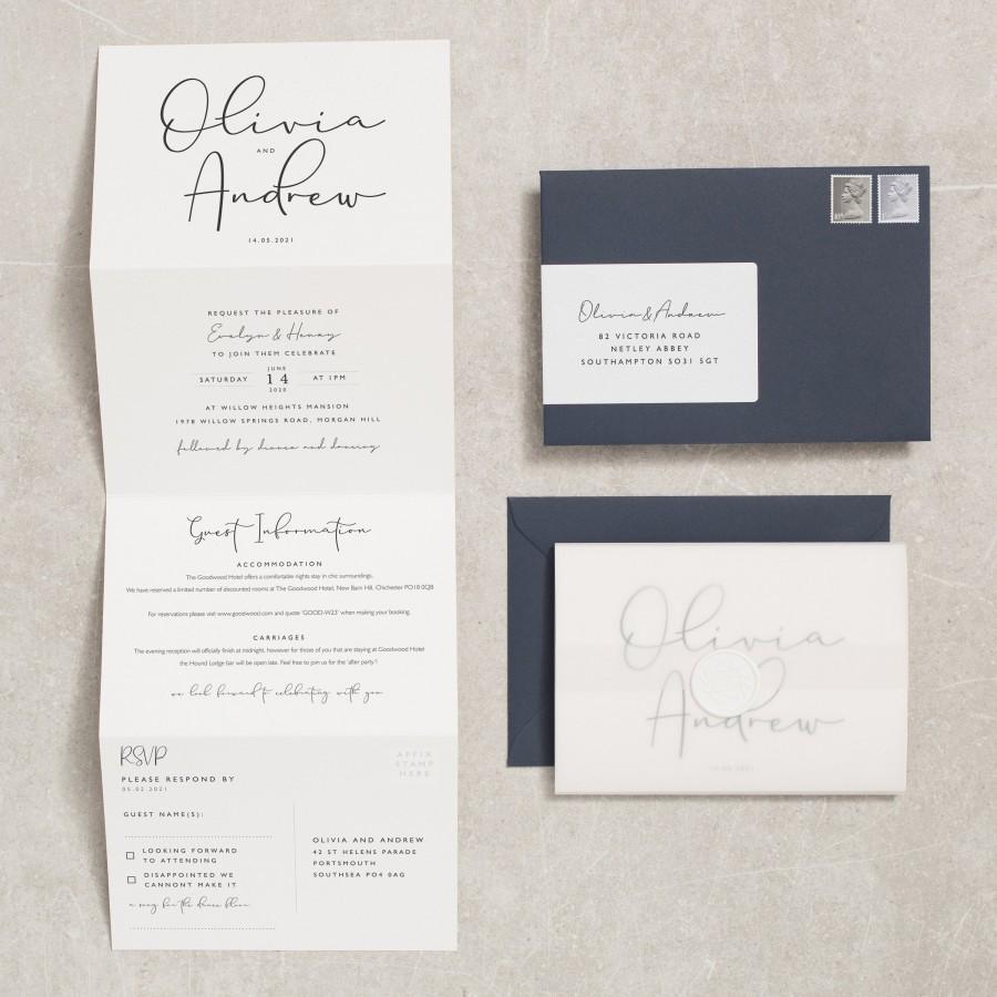 Wedding - Calligraphy Wedding Invitation With Vellum and Wax Seal, Classic Concertina Wedding Invites With RSVP, Navy Wedding Invites 'Olivia' #236