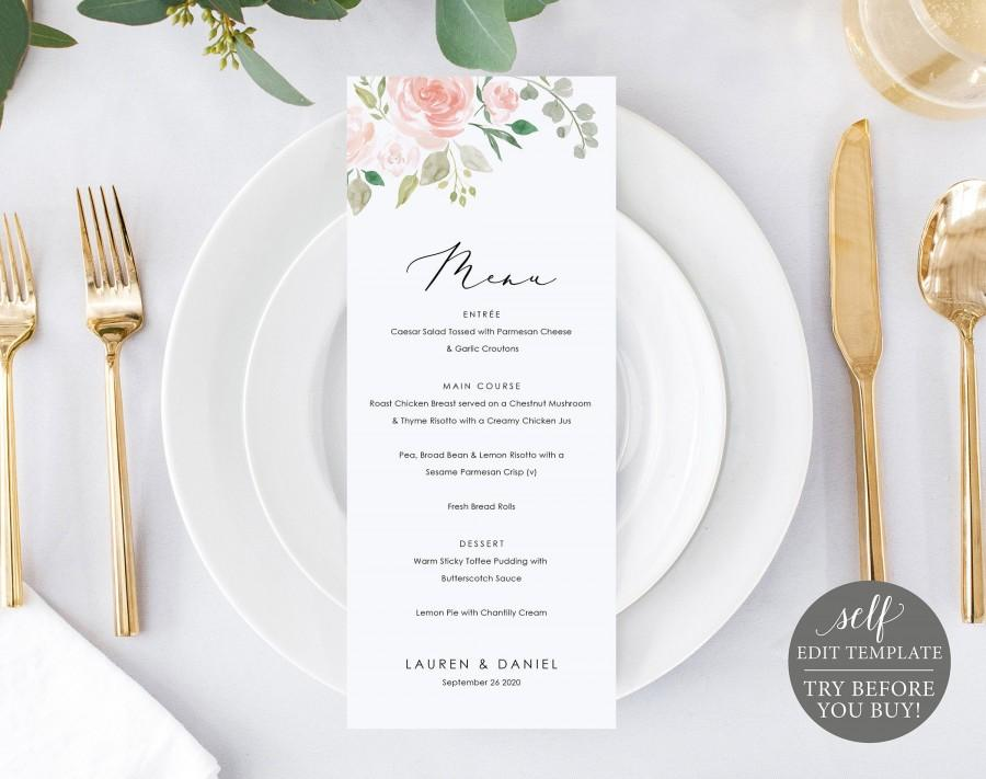 Hochzeit - Wedding Menu Template, Blush Floral, Fully Editable Instant Download, TRY BEFORE You BUY