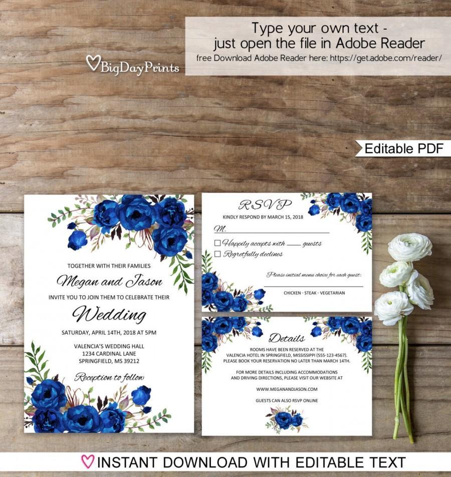 Hochzeit - Blue Wedding Invitation Template, Royal Blue Wedding Invitation, Boho Chic Wedding Invitation Suite, Floral Wedding Set, #A016C Editable PDF