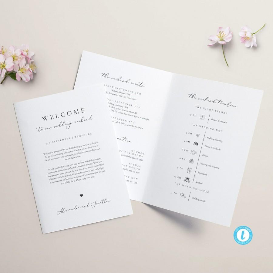Wedding - Wedding Weekend Itinerary Template Weekend Timeline Program Wedding Booklet Printable Order of Events Welcome Bag Note Wedding schedule 10