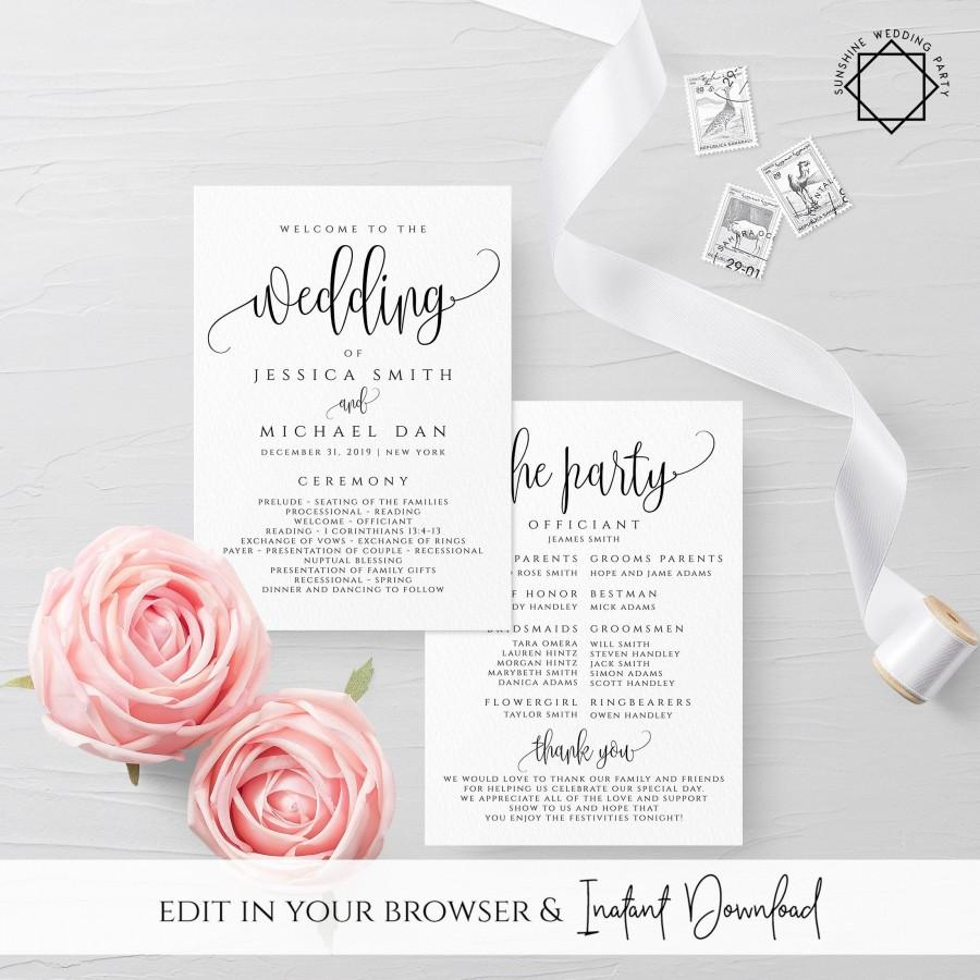 Mariage - Wedding Program Template Ceremony Program Template INSTANT DOWNLOAD Fully Editable Printable Ceremony Program Kraft Program DIY Templett R1
