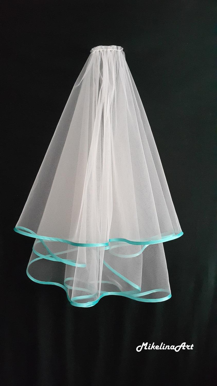 Mariage - White Wedding Veil, Two Layers, Turquoise Satin Edging.