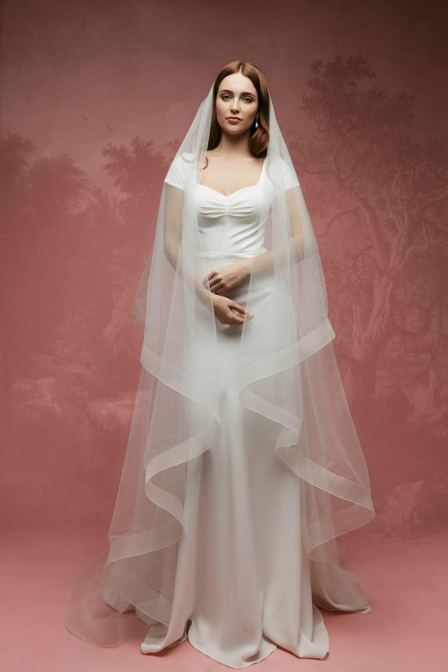 Mariage - Horsehair Veil A1(5), Bridal Veil, Horsehair Drop Veil, Wedding Veil, Horse Hair Wedding Veil, Ribbon Edge Wedding Veil, Cathedral Veil