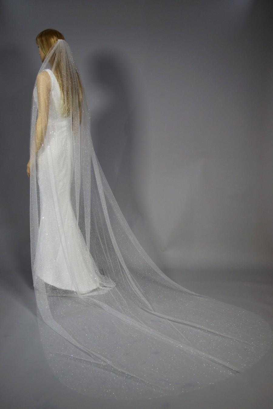Wedding - Wedding veil, cathedral veil, chapel veil, fingertip veil, 1 tier veil, custom made veil, sparkle veil, glitter veil. KA15