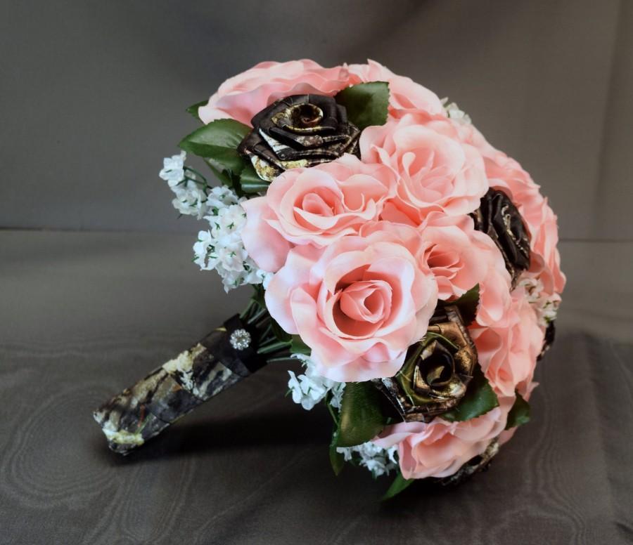Свадьба - Mossy Oak Camo, Pink Silk Flowers Bouquet