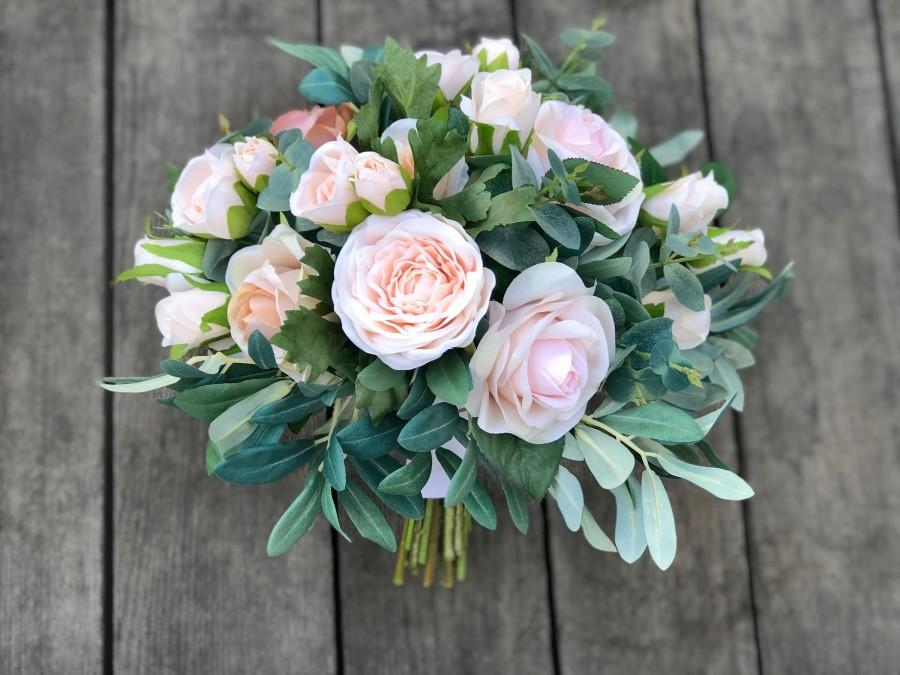 Свадьба - Champagne Blush Pink Gold Eucalyptus Bridal Wedding Bouquet