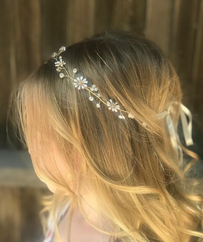 Mariage - Flower Girl Hair Vine, Wedding Hair Accessory, Bridal Hair Vine, Flower Hair Accessory