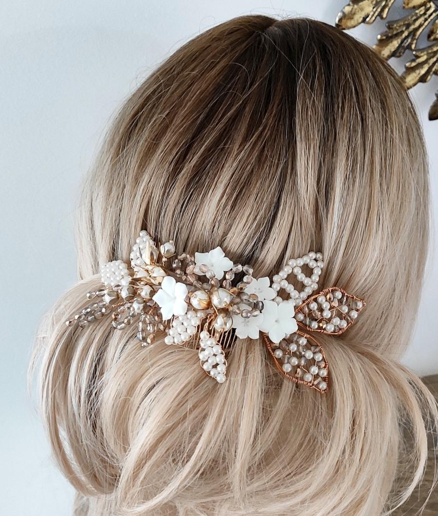 Mariage - Bridal jewellery headpiece, Gold bridal comb, Rose Gold Wedding Hair Comb, Pearls headpiece for bride, Crystal Bridal Comb, Bridal Hair Vine