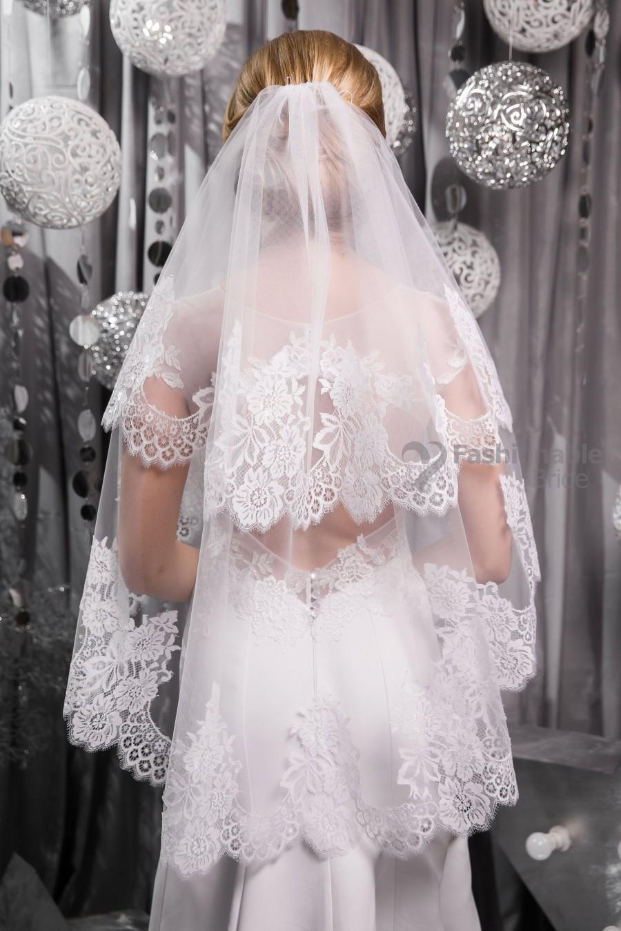Свадьба - Veil in 2 tiers,Bridal Veil,Lace Wedding Veil,Wedding Veil,lace veil.